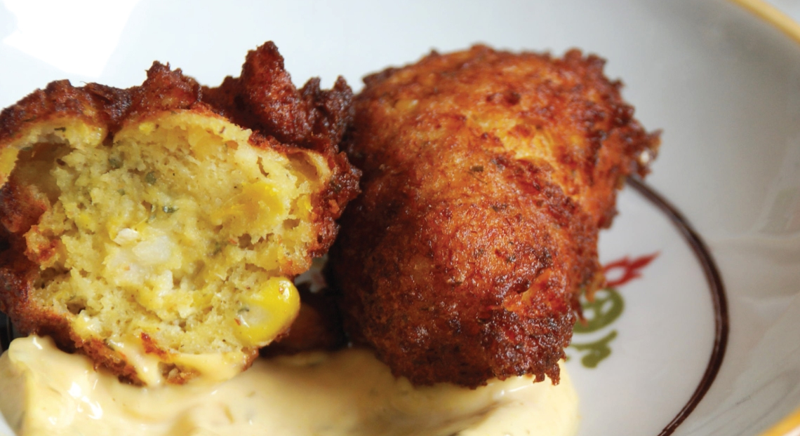 Crab & Corn Fritters using PureLiving Sprouted Flour